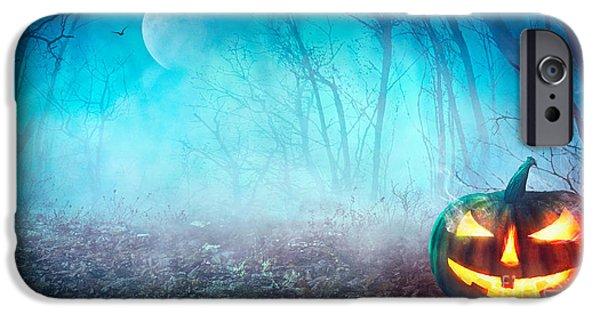 Bat iPhone 6 Case - Halloween Background. Spooky Pumpkin by Mythja