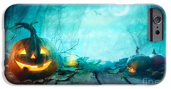 Bat iPhone 6 Case - Halloween Pumpkins On Wood. Halloween by Mythja