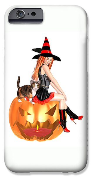 Luxmaris iPhone 6 Case - Halloween Witch Nicki With Kitten by Renate Janssen