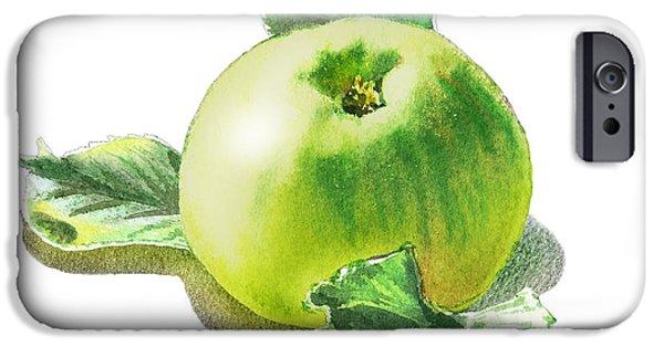 IPhone 6 Case featuring the painting Happy Green Apple by Irina Sztukowski