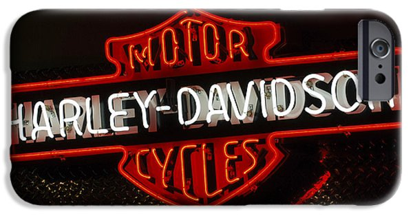 Neon iPhone Cases - Harley-Davidson Motor Cycle Neon Lights 2 iPhone Case by Jill Reger