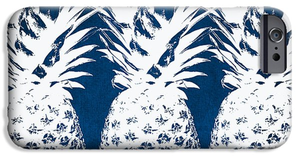 Blue iPhone 6 Case - Indigo And White Pineapples by Linda Woods