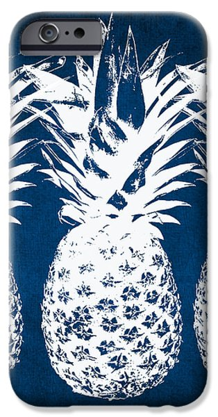 iPhone 6 Case - Indigo And White Pineapples by Linda Woods