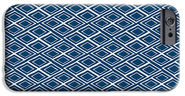 Blue iPhone 6 Case - Indigo And White Small Diamonds- Pattern by Linda Woods