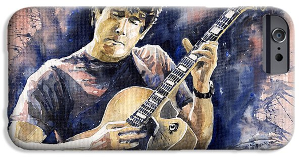 Legend Paintings iPhone Cases - Jazz Rock John Mayer 06 iPhone Case by Yuriy  Shevchuk