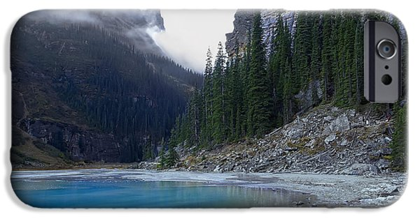 Best Sellers -  - Mist iPhone Cases - Lake Louise North Shore - Canada Rockies iPhone Case by Daniel Hagerman