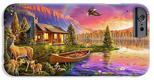 IPhone 6 Case featuring the drawing Lakeside Cabin  by Adrian Chesterman