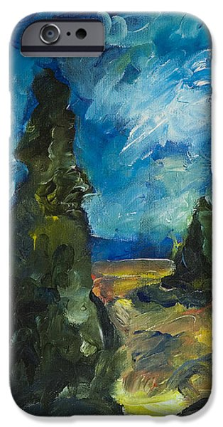 IPhone 6 Case featuring the painting Emerald Spires by Yulia Kazansky