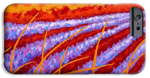 Landscape Acrylic Prints iPhone Cases - Lavender Meadow iPhone Case by John  Nolan