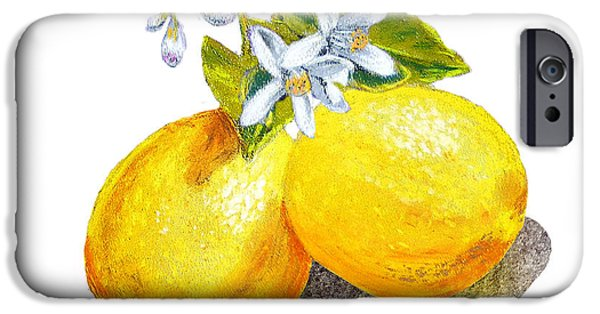 IPhone 6 Case featuring the painting Lemons And Blossoms by Irina Sztukowski