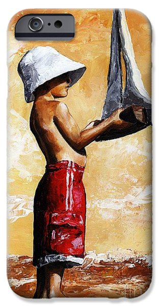 Little Boy iPhone Cases - Little boy in the beach iPhone Case by Emerico Imre Toth