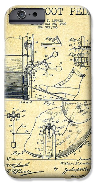 Folk Art iPhone 6 Case - Ludwig Foot Pedal Patent Drawing From 1909 - Vintage by Aged Pixel
