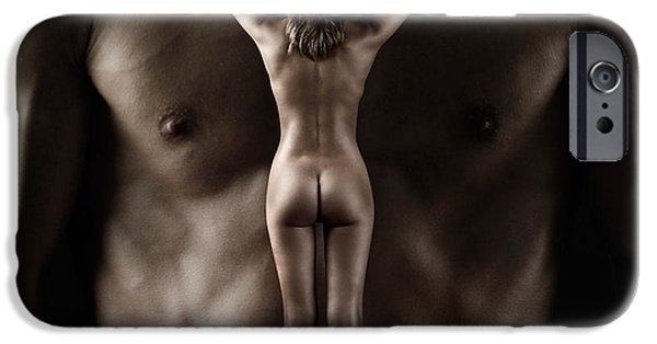 Voluptuous iPhone Cases - Man Holding a Naked Fitness Woman in His Hands iPhone Case by Oleksiy Maksymenko