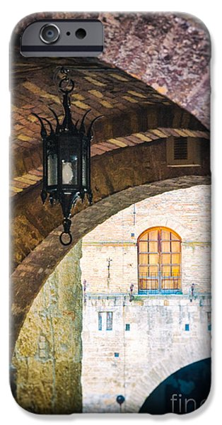 IPhone 6 Case featuring the photograph Medieval Arches With Lamp by Silvia Ganora