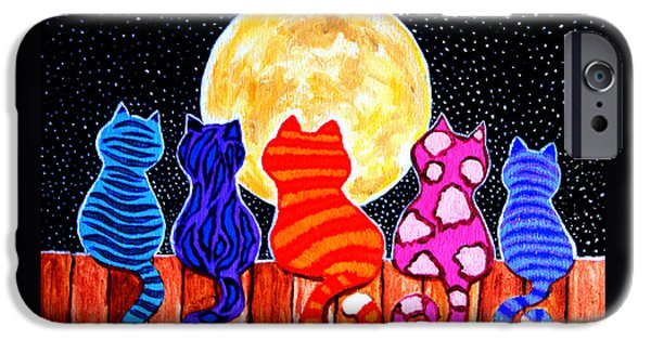 Colorful iPhone 6 Case - Meowing At Midnight by Nick Gustafson