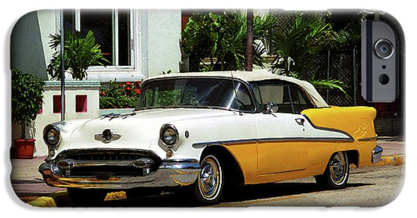 Mural Mixed Media iPhone Cases - Miami Beach Classic Car with Watercolor Effect iPhone Case by Frank Romeo