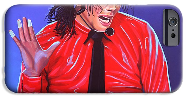 Single Paintings iPhone Cases - Michael Jackson 2 iPhone Case by Paul  Meijering