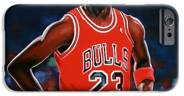Celebrities Art Paintings iPhone Cases - Michael Jordan iPhone Case by Paul Meijering