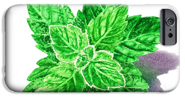 IPhone 6 Case featuring the painting Mint Leaves by Irina Sztukowski