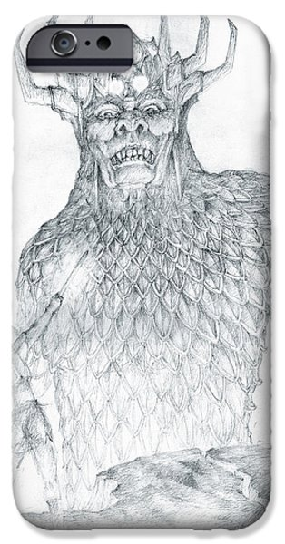 Torn Drawings iPhone Cases - Morgoth and Fingolfin iPhone Case by Curtiss Shaffer