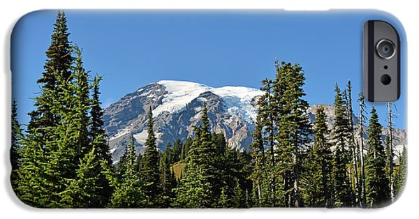 IPhone 6 Case featuring the photograph Mount Rainier Evergreens by Anthony Baatz