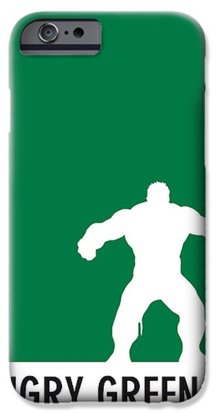 Superheroes iPhone 6 Case - My Superhero 01 Angry Green Minimal Poster by Chungkong Art