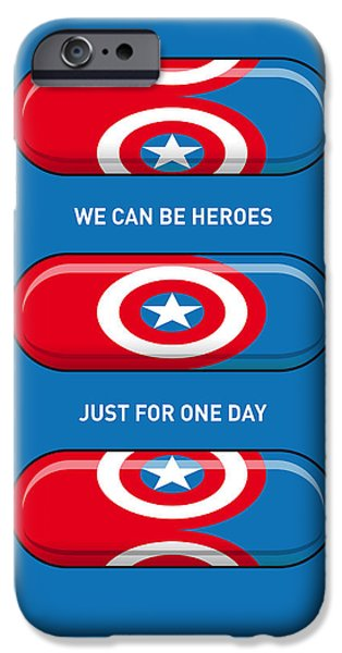 Superheroes iPhone 6 Case - My Superhero Pills - Captain America by Chungkong Art