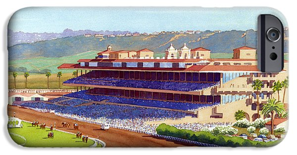 Mars iPhone Cases - New Del Mar Racetrack iPhone Case by Mary Helmreich
