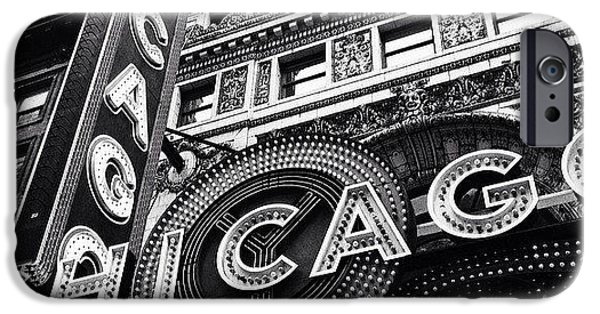 City iPhone 6 Case - Chicago Theatre Sign Black And White Photo by Paul Velgos