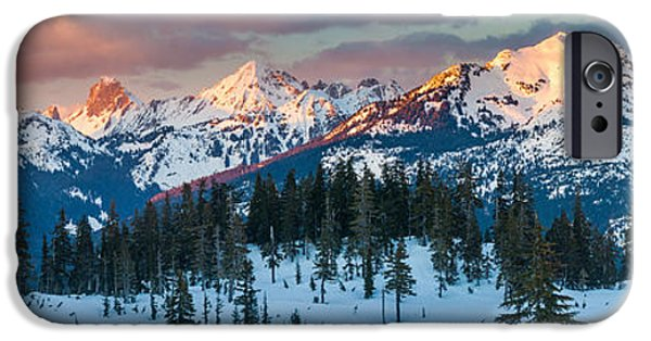 Snow iPhone Cases - North Cascades Winter Panorama iPhone Case by Inge Johnsson
