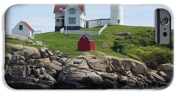 Nubble Lighthouse iPhone Cases - Nubble Lighthouse in Maine iPhone Case by Stella Sherman