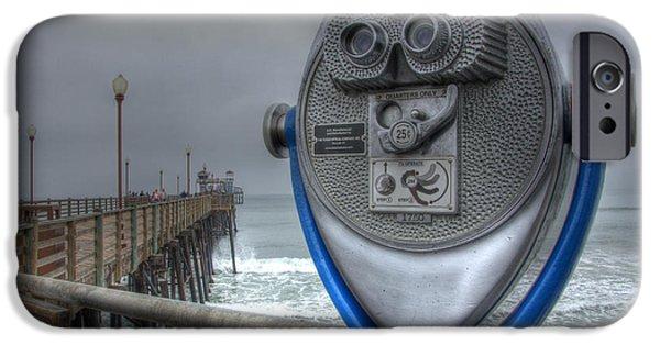 California Tourist Spots iPhone Cases - Oceanside Pier California Binocular Vision iPhone Case by Bob Christopher