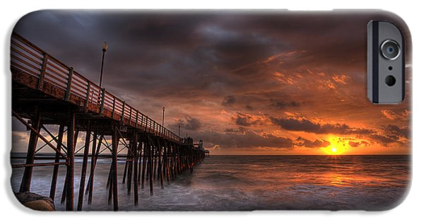 Red Rock iPhone Cases - Oceanside Pier Perfect Sunset iPhone Case by Peter Tellone