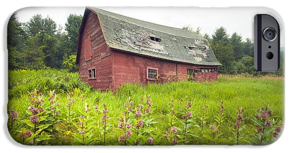 Old Barns iPhone Cases - Old red barn in a field - Rustic landscapes iPhone Case by Gary Heller