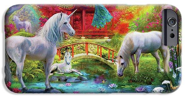 IPhone 6 Case featuring the drawing Orietnal Unicorns by Jan Patrik Krasny