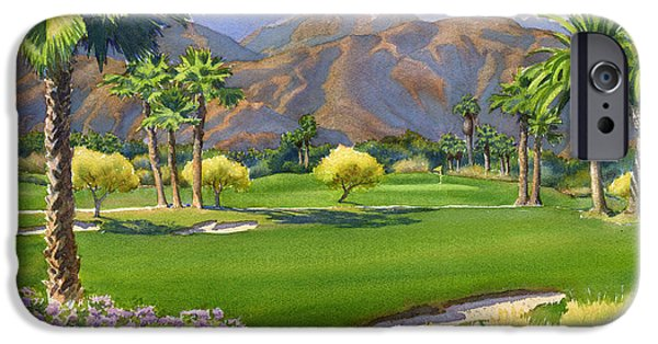 Sports Paintings iPhone Cases - Palm Springs Golf Course with Mt San Jacinto iPhone Case by Mary Helmreich