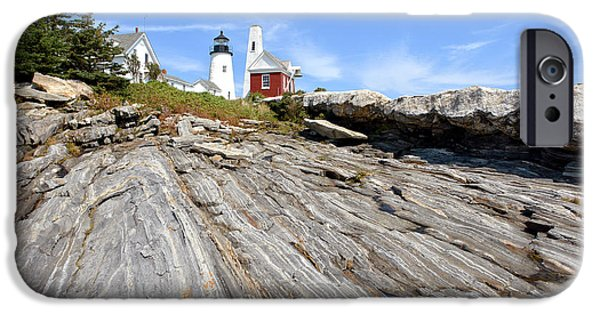 Rocky Maine Coast iPhone Cases - Pemaquid Point Lighthouse in Maine iPhone Case by Olivier Le Queinec