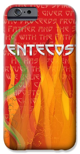 Pentecost iPhone Cases - Pentecost Fires iPhone Case by Chuck Mountain