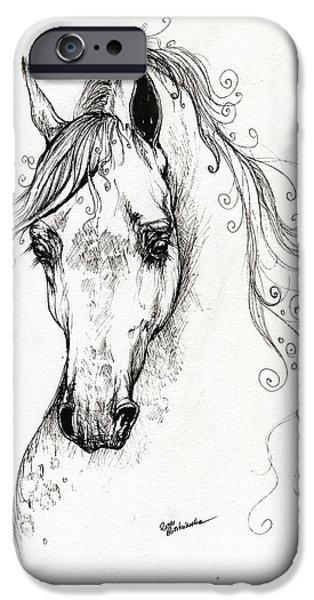 Piaff polish arabian horse drawing iPhone Case by Angel  Tarantella