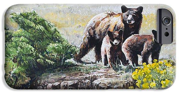 Wild Animals iPhone Cases - Prairie Black Bears iPhone Case by Aaron Spong