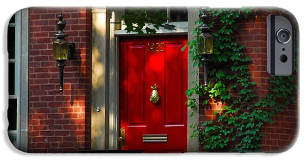House iPhone Cases - Red Door in Chicago iPhone Case by Lynn Bauer