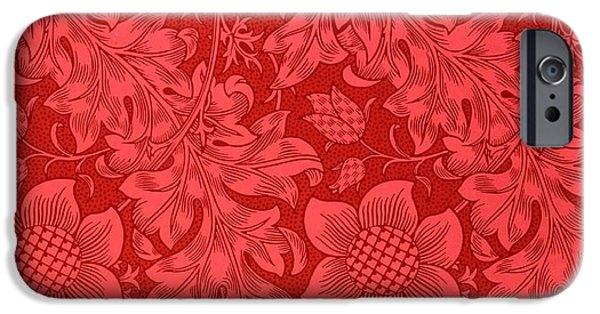 Red iPhone 6 Case - Red Sunflower Wallpaper Design, 1879 by William Morris