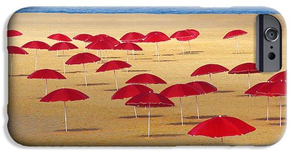 Water Ocean iPhone 6 Case - Red Umbrellas by Carlos Caetano