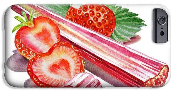 IPhone 6 Case featuring the painting Rhubarb Strawberry by Irina Sztukowski