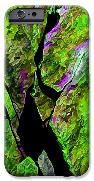 Modern Abstract iPhone Cases - Rock Art 17 in Green iPhone Case by Bill Caldwell -        ABeautifulSky Photography