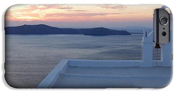 Balcony iPhone Cases - Santorini church in Greece iPhone Case by IB Photo