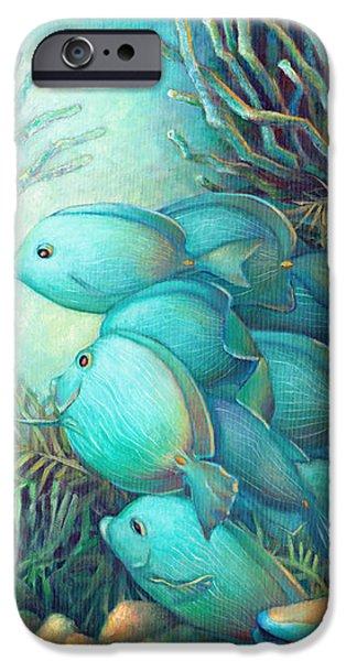 Brain Paintings iPhone Cases - Sea Folk III - Blue Tang iPhone Case by Nancy Tilles