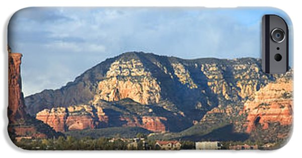 Red Rock iPhone Cases - Sedona Arizona Panoramic iPhone Case by Mike McGlothlen