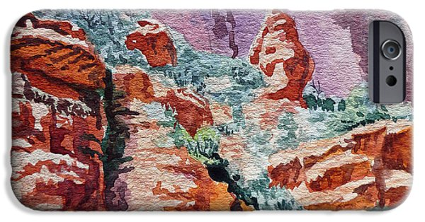 Sedona Paintings iPhone Cases - Sedona Arizona Rocky Canyon iPhone Case by Irina Sztukowski