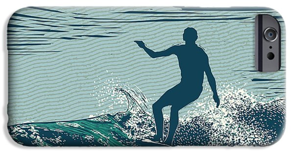 Pacific Ocean iPhone 6 Case - Silhouette Surfer And Big Wave by Jumpingsack